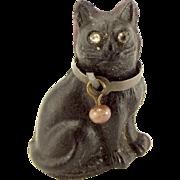 Edwardian Czechoslovakian Glass BLACK CAT Charm Paste EYES Brass COLLAR