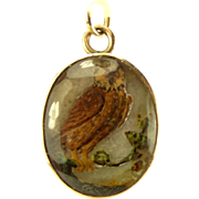 Victorian Hand Painted OWL On MOP 9ct Gold Mount Charm Pendant Fob