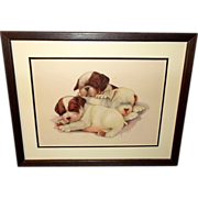 SOLD Three Bulldog Puppies by Grace Lopez - Wood Frame