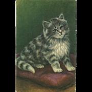 Vintage Alfred Mainzer Postcard of Striped Kitten - Artist Signed M. Babington