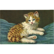 SOLD Vintage Stehli Freres Postcard of Reclining Cat or Kitten  - Signed A. Lampe
