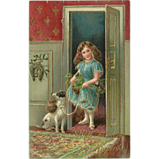 SALE Embossed Vintage German Postcard with Girl and Dog