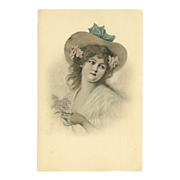 SALE Vintage Postcard of Lovely Lady by M.M. Vienne - Undivided Back