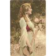 Vintage Postcard of Lovely Gypsy Woman with Musical Instrument