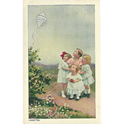 SALE Vintage 1916 Advertising Postcard for Humphreys' Witch Hazel Ointment - Children and Kite