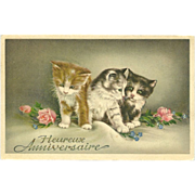 SOLD Vintage French Birthday Postcard with Three Kittens - Red Tag Sale Item
