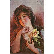 Artist Signed Postcard of Lady with Rose by A.V. Riesen 1917
