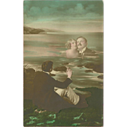 SOLD Vintage Tinted Photo Fantasy Postcard of Man and Woman in Water - Red Tag Sale Item