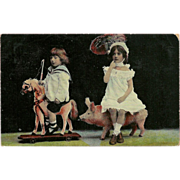 SALE Real Photo Postcard of Two Children on Toy Horse and Pig - 1908 - 2 of 2