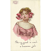 SOLD Vintage Advertising Postcard with Lady for Bour Quality Coffees and Teas
