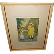 M.L. Kirk Framed Illustration of Girl with Goose