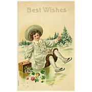 SALE Embossed 1907 Best Wishes Postcard of Skating Child