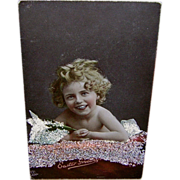 SOLD Raphael Tuck Easter Series Postcard - Cute Girl with Glitter - Red Tag Sale Item