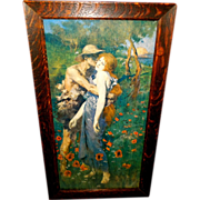 SOLD Vintage Print of An Idyll by Maurice Greiffenhagen - Couple in Field of Poppies