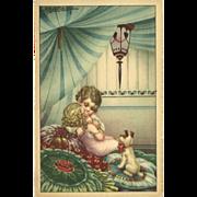 SOLD Artist Signed Bertiglia Vintage Postcard of Two Children and Dog - Red Tag Sale Item