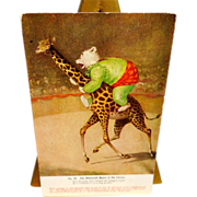 SOLD Undivided Advertising Postcard for the Roosevelt Bears at the Circus - Bear Riding Giraff