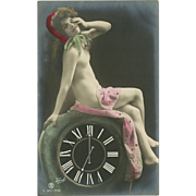 SOLD Risque Postcard of Lady on Clock by Traut - Rotophot - 1 of 3 - Red Tag Sale Item