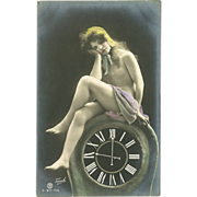 Risque Postcard of Lady on Clock by Traut - Rotophot - 2 of 3