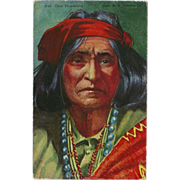 SALE PENDING Vintage Postcard of Native American Indian Chief Thunderbird