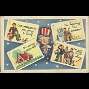 SOLD Vintage Patriotic Uncle Sam Postcard Holding Four Postcards - Red Tag Sale Item