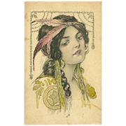 SOLD Vintage Postcard of Native American Indian Maiden - Early 1900's