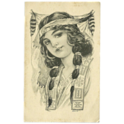 SOLD Vintage Postcard of Native American Indian Maiden 1913