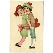 SOLD Colorful Vintage Postcard of Mexican Girl and Boy