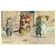 Maurice Boulanger Vintage 1908 Postcard of Cats Singing