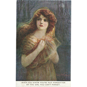 Cress Woollett Signed British Postcard of Art Nouveau Lady