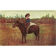 Undivided 1905 Postcard of Cowgirl on Horseback with Rifle - Looking for Game