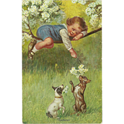 SALE Vintage Postcard of Young Child Playing with Dogs - Neckerei