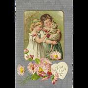 SOLD John Winsch Vintage Postcard of True Love - Boy, Girl, and Cat