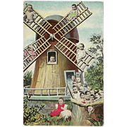 SOLD Vintage Fantasy Postcard of Babies on a Windmill