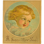 Small Chromolithograph of Cherub or Angel - Happy New Year