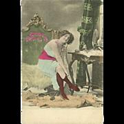 SALE Risque Vintage Tinted Postcard of Lady in Bedroom - Mosinger Croatia