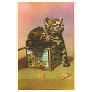 Vintage French Postcard of Two Kittens in Biscuit Tin