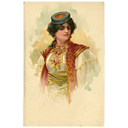 Undivided Meissner & Buch Postcard of Lady in Elaborate Outfit