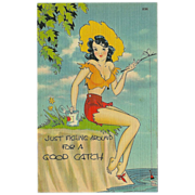 Vintage Linen Pinup Postcard of Lady Fishing