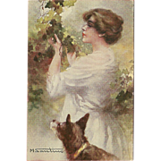 Artist Signed M. Santino Postcard of Woman with Dog