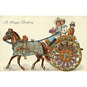 Vintage Embossed Birthday Postcard with Horse Drawn Carriage
