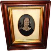 SOLD Tintype of Lady with Gold Accents - Walnut Frame