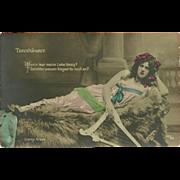 Vintage Tinted German Photo Postcard of Lady with Harp