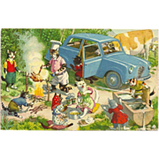 SOLD Max Kunzli Dressed Cats Postcard by Mainzer - Lively Cookout