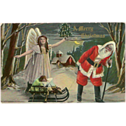 SALE Merry Christmas 1911 Postcard of Santa with Angel and Sleigh