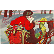 Vintage Embossed Christmas Postcard -Santa in Sleigh