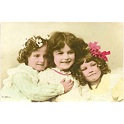 Aristophot Vintage Postcard of Three Young Girls