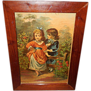 Chromolithograph of Boy and Girl - Come Lassie Come - Wood Frame