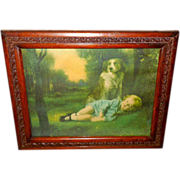 Dog Guarding Sleeping Child - Wood Frame