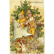 Vintage German Embossed Christmas Postcard with Children and Toys