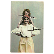 Vintage Photo Postcard of Woman with Cupid on Her Shoulders